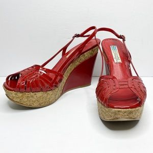 Arnold Churgin Patent Leather Cork Wedges